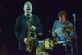 Iain Ballamy and Martin France at Fleet Jazz on 21st March 2017. Photograph courtesy of David Fisher (Aldershot, Farnham & Fleet Camera Club)