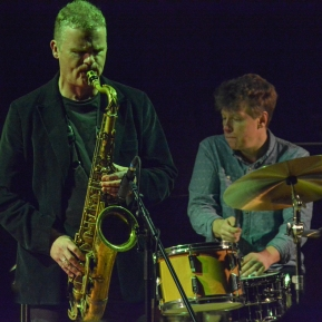 Iain Ballamy and Martin France at Fleet Jazz on 21st March 2017. Photograph courtesy of David Fisher (Aldershot, Farnham & Fleet Camera Club)