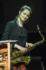 Trish Clowes performing at Fleet Jazz on 18th April 2017. Photograph courtesy of David Fisher (Aldershot, Farnham & Fleet Camera Club)