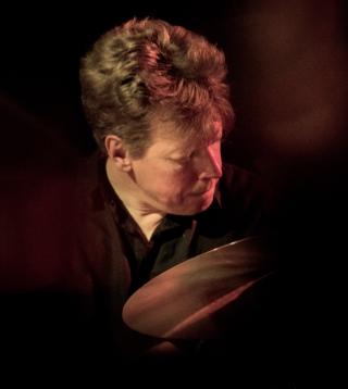 Martin France performing at Fleet Jazz on 18th April 2017. Photograph courtesy of Michael Carrington (Aldershot, Farnham & Fleet Camera Club)