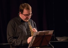 Tom Ridout at Fleet Jazz Club on 15 Nov 2017. Photograph courtesy of Michael Carrington (Aldershot, Farnham and Fleet Camera Club)