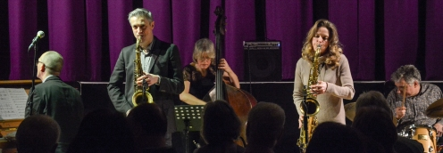 "Dave and Judith O'Higgins: ""His'n'Hers Quintet"" performing at Fleet Jazz Club on 20th March 2018. Photograph courtesy of David Fisher from the Aldershot, Farnham & Fleet Camera Club"