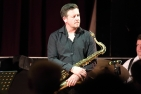 Paul Booth with the Janette Mason Trio performing at Fleet Jazz Club on 15th May 2018. Photograph courtesy of Ana Peiro from the Aldershot, Farnham & Fleet Camera Club.