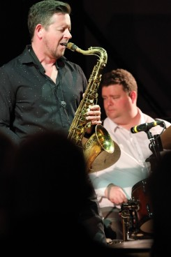 Paul Booth and Nat Steele performing at Fleet Jazz Club on 15th May 2018. Photograph courtesy of Ana Peiro from the Aldershot, Farnham & Fleet Camera Club.
