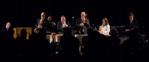 The Gordon Campbell All Star Octet performing at Fleet Jazz Club on 19th June. Photograph courtesy of Michael Carrington (from the Aldershot, Farnham & Fleet Camera Club).