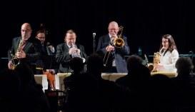 The Gordon Campbell All Star Octet performing at Fleet Jazz Club on 19th June. Photograph courtesy of Michael Carrington (from the Aldershot, Farnham & Fleet Camera Club).