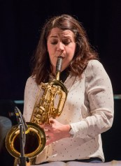 Claire McInerney performing with The Gordon Campbell All Star Octet at Fleet Jazz Club on 19th June. Photograph courtesy of Michael Carrington (from the Aldershot, Farnham & Fleet Camera Club).
