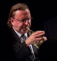 Martin Shaw performing with The Gordon Campbell All Star Octet at Fleet Jazz Club on 19th June. Photograph courtesy of Michael Carrington (from the Aldershot, Farnham & Fleet Camera Club).