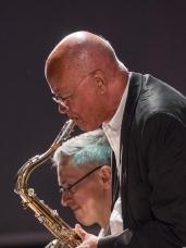 Art Themen performing with the Clark Tracey's Stan Tracey Legacy Big Band at Fleet Jazz Club on Tuesday, 17th July. Photograph courtesy of Michael Carrington (Aldershot, Farnham & Fleet Camera Club) at The Harlington, Fleet.