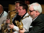 Art Themen, Sam Mayne, Simon Allen and Jay Craig performing with the Clark Tracey's Stan Tracey Legacy Big Band at Fleet Jazz Club on Tuesday, 17th July. Photograph courtesy of Michael Carrington (Aldershot, Farnham & Fleet Camera Club).