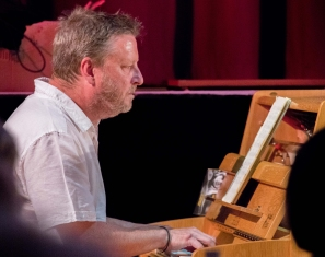 Mark Edwards performing with the Clark Tracey's Stan Tracey Legacy Big Band at Fleet Jazz Club on Tuesday, 17th July. Photograph courtesy of Michael Carrington (Aldershot, Farnham & Fleet Camera Club).