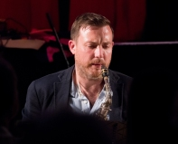 Sam Mayne performing with the Clark Tracey's Stan Tracey Legacy Big Band at Fleet Jazz Club on Tuesday, 17th July. Photograph courtesy of Michael Carrington (Aldershot, Farnham & Fleet Camera Club).
