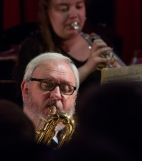 Alex Ridout and Jay Craig performing with the Clark Tracey's Stan Tracey Legacy Big Band at Fleet Jazz Club on Tuesday, 17th July. Photograph courtesy of Michael Carrington (Aldershot, Farnham & Fleet Camera Club).