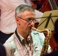 Dave O'Higgins performing with the Clark Tracey's Stan Tracey Legacy Big Band at Fleet Jazz Club on Tuesday, 17th July. Photograph courtesy of Michael Carrington (Aldershot, Farnham & Fleet Camera Club).