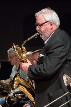 Jay Craig performing with the Clark Tracey's Stan Tracey Legacy Big Band at Fleet Jazz Club on Tuesday, 17th July. Photograph courtesy of Michael Carrington (Aldershot, Farnham & Fleet Camera Club).
