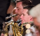 Sam Mayne and Simon Allen performing with the Clark Tracey's Stan Tracey Legacy Big Band at Fleet Jazz Club on Tuesday, 17th July. Photograph courtesy of Michael Carrington (Aldershot, Farnham & Fleet Camera Club).