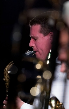 Simon Allen performing with the Clark Tracey's Stan Tracey Legacy Big Band at Fleet Jazz Club on Tuesday, 17th July. Photograph courtesy of Michael Carrington (Aldershot, Farnham & Fleet Camera Club).