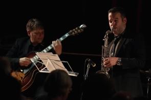 Nigel Price & Vasilis Xenopulos performing at Fleet Jazz Club on 18th September 2018. Photograph courtesy of Ana Peiro (Aldershot, Farnham & Fleet Camera Club)