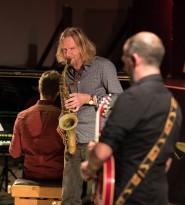 Matt Wates and Chris Allard performing at Fleet Jazz Club on 13th November 2018. Photograph courtesy of Jeff Kelsey (Aldershot, Farnham and Fleet Camera Club).
