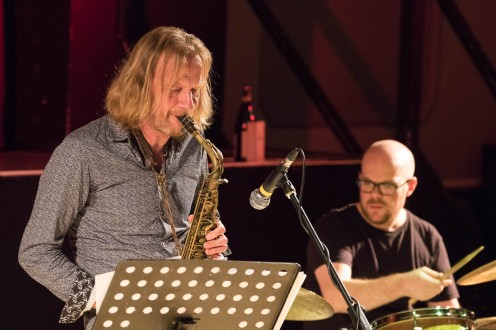 Matt Wates and John Blease performing at Fleet Jazz Club on 13th November 2018. Photograph courtesy of Jeff Kelsey (Aldershot, Farnham and Fleet Camera Club).