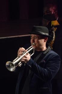 Andy Davies at Fleet Jazz on 15th Jan 2019 performing with the Tony Kofi Quintet. Image courtesy of David Fisher (Aldershot, Farnham & Fleet Camera Club).