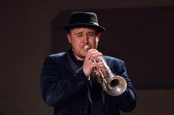 Andy Davies at Fleet Jazz on 15th Jan 2019 performing with the Tony Kofi Quintet. Image courtesy of Michael Carrington (Aldershot, Farnham and Fleet Camera Club).