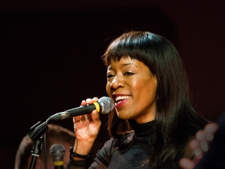 Deelee Dubé at Fleet Jazz on 15th Jan 2019 performing with the Tony Kofi Quintet. Image courtesy of Michael Carrington (Aldershot, Farnham and Fleet Camera Club).