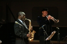 Tony Kofi and Andy Davies performing at Fleet Jazz on 15th Jan 2019. Image courtesy of Robert Rowley (Aldershot, Farnham and Fleet Camera Club).