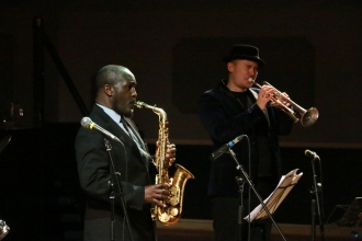 Tony Kofi and Andy Davies performing at Fleet Jazz on 15th Jan 2019. Image courtesy of Robert Rowley (Aldershot, Farnham and Fleet Camera Club).