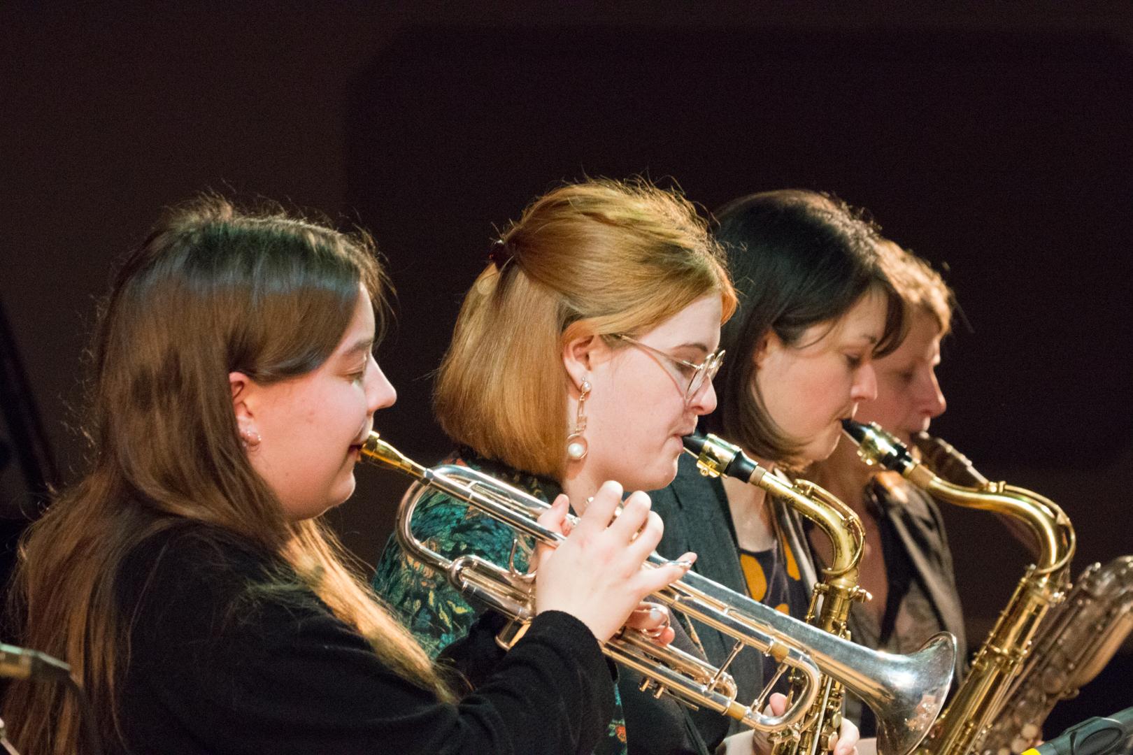 Alex Ridout, Alice Leggett, Trish Clowes and Karen Sharp performing in the Nikki Iles All Star Septet at Fleet Jazz on 19th Feb 2019.