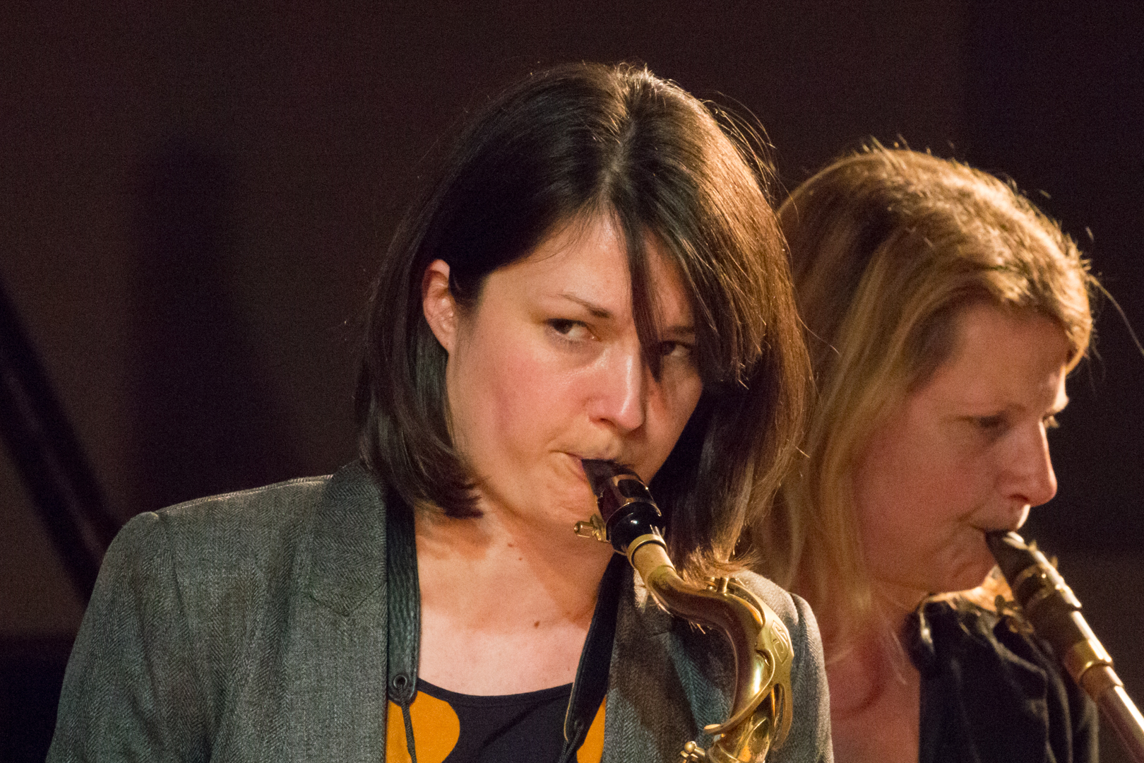 Trish Clowes and Karen Sharp performing in the Nikki Iles All Star Septet at Fleet Jazz on 19th Feb 2019.
