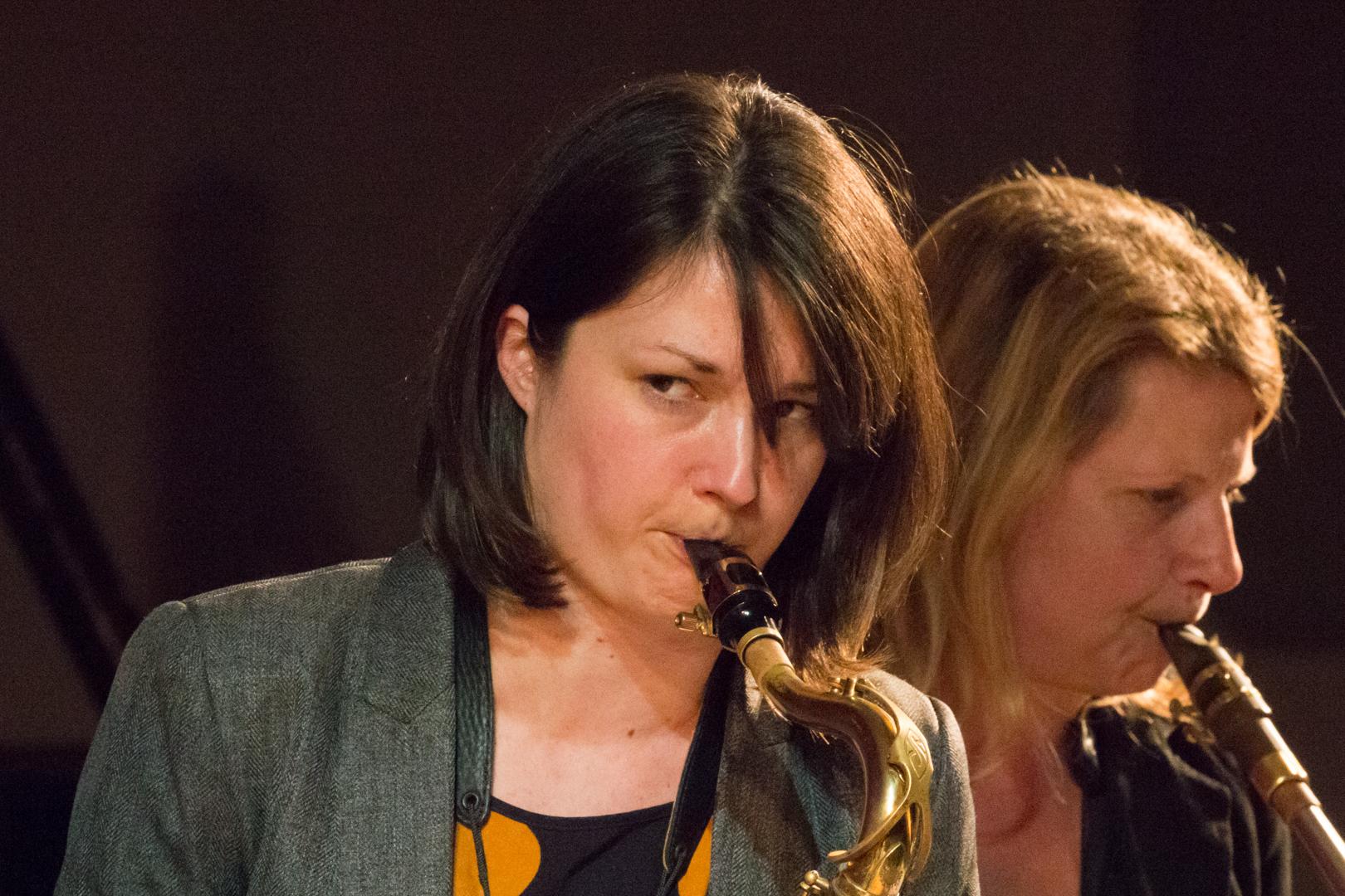 Trish Clowes and Karen Sharp performing in the Nikki Iles All Star Septet at Fleet Jazz on 19th Feb 2019.