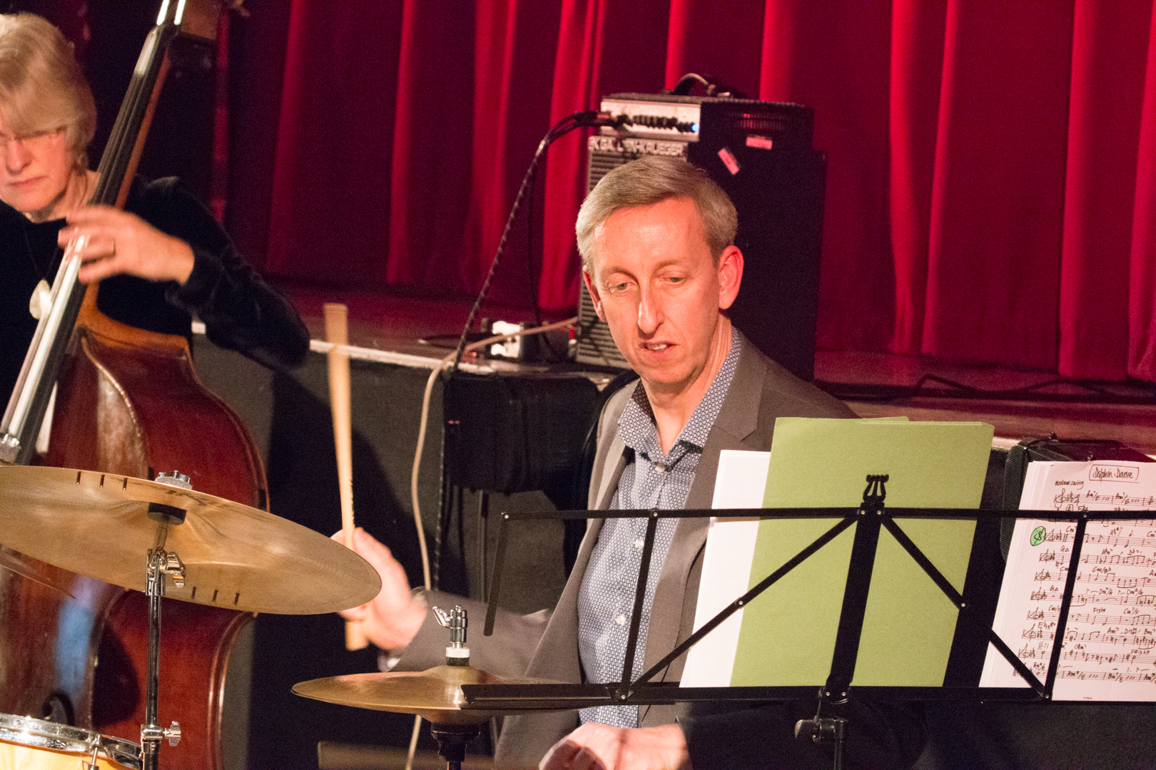 Steve Brown performing in the Nikki Iles All Star Septet at Fleet Jazz on 19th Feb 2019.