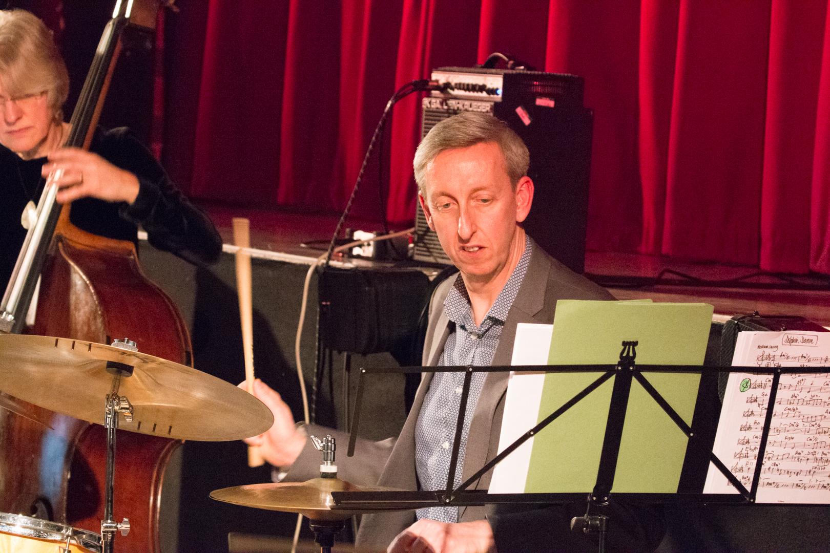Steve Brown performing in the Nikki Iles All Star Septet at Fleet Jazz on 19th Feb 2019.