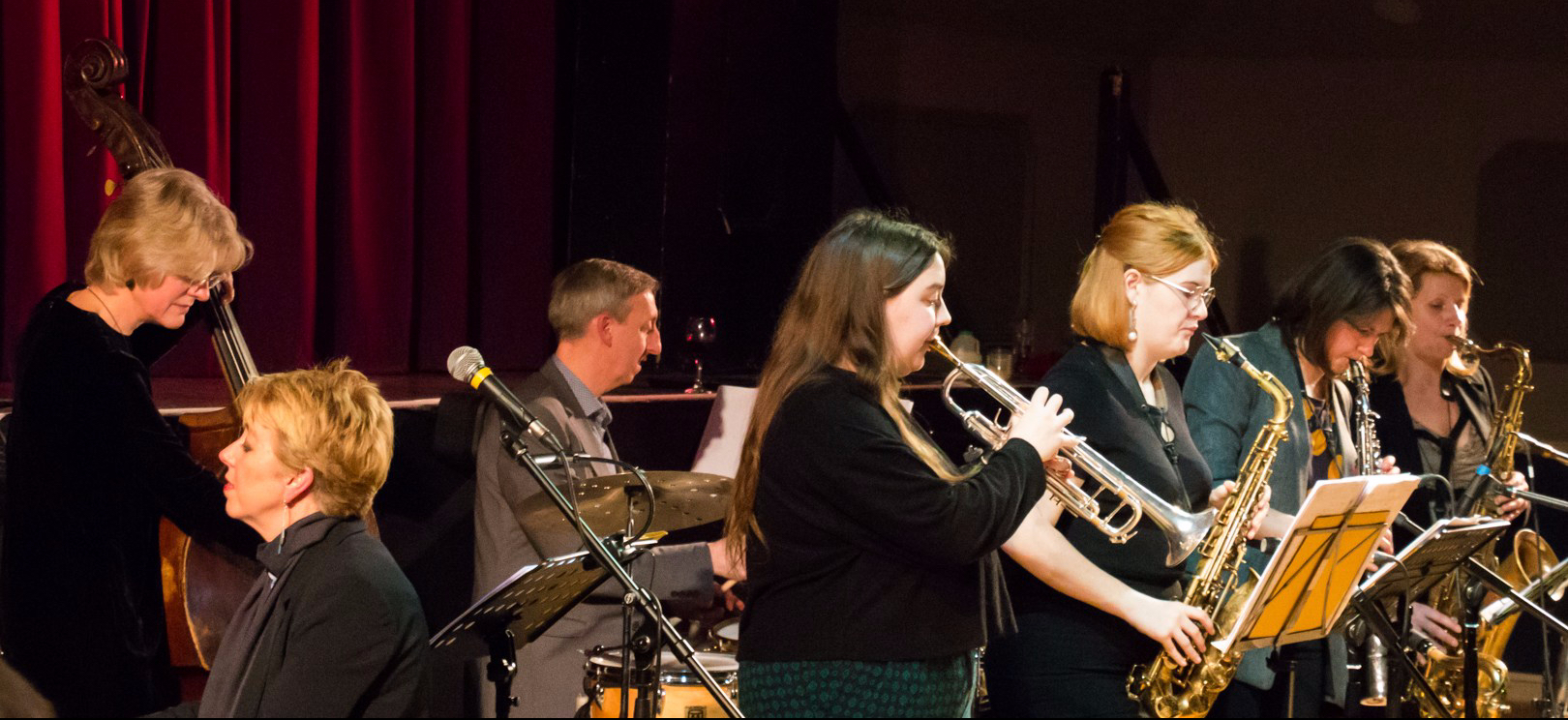 The Nikki Iles All Star Septet performing at Fleet Jazz on 19th Feb 2019.
