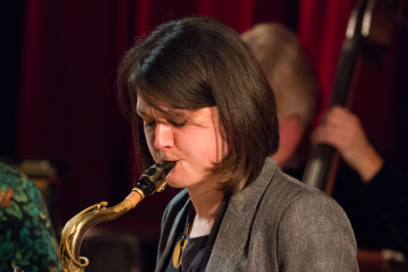 Trish Clowes performing in the Nikki Iles All Star Septet at Fleet Jazz on 19th Feb 2019