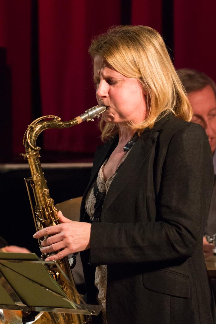 Karen Sharp performing in the Nikki Iles All Star Septet at Fleet Jazz on 19th Feb 2019